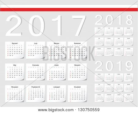 Set Of Polish 2017, 2018, 2019 Vector Calendars