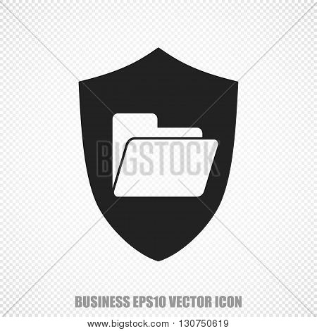 The universal vector icon on the business theme: Black Folder With Shield. Modern flat design. For mobile and web design. EPS 10.