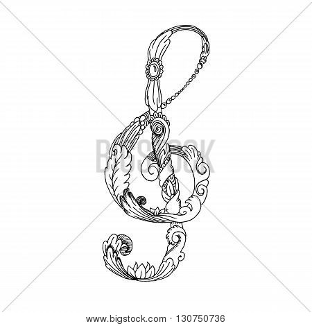 Black and white treble clef. Hand drawn vector stock illustration
