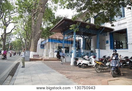 Hanoi, Vietnam - May 21, 2016: Front view of the brand of ANZ commercial bank - an old house near Hoan Kiem (Sword) lake in Hanoi capital. ANZ is one of Australia's four largest banks.