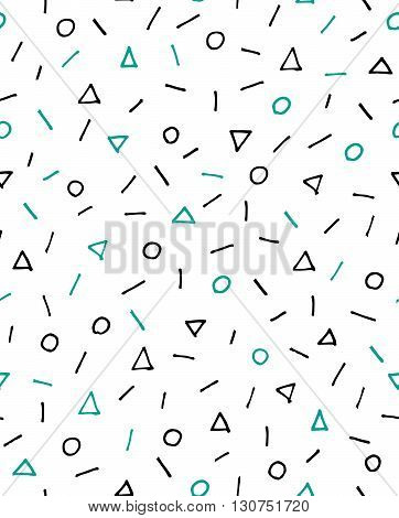 Bright geometric seamless background, 80s, 90s style, vector illustration