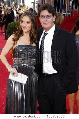 Charlie Sheen and Brooke Allen at the 60th Primetime Emmy Awards held at the Nokia Theater in Los Angeles, USA on September 21, 2008.