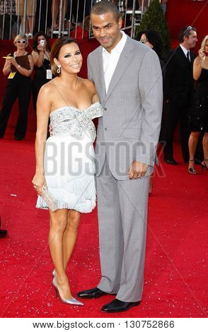 Eva Longoria Parker and Tony Parker at the 60th Primetime Emmy Awards held at the Nokia Theater in Los Angeles, USA on September 21, 2008.