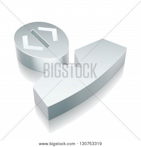 Programming icon: 3d metallic Programmer with reflection on White background, EPS 10 vector illustration.