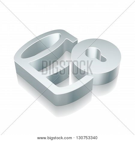 Software icon: 3d metallic Database With Lock with reflection on White background, EPS 10 vector illustration.