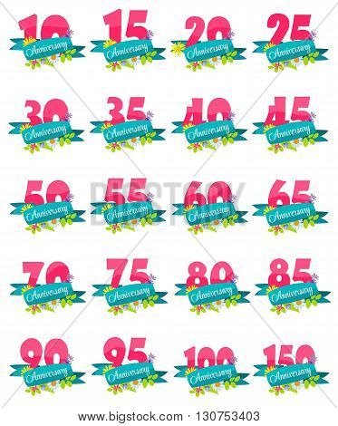 Cute Natural Flower Anniversary Template Vector Illustration EPS10
