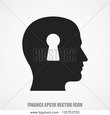 The universal vector icon on the business theme: Black Head With Keyhole. Modern flat design. For mobile and web design. EPS 10.