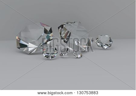 3D rendering diamonds on a white background