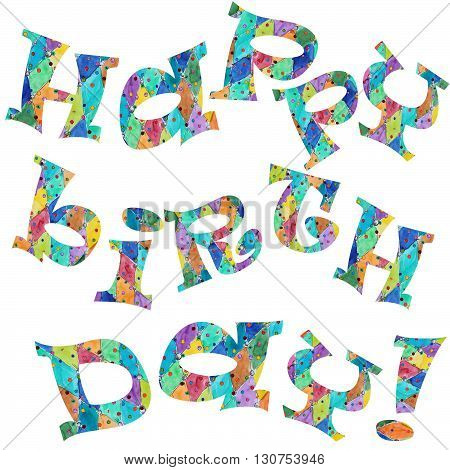 Happy Birthday greeting card text  with pattern
