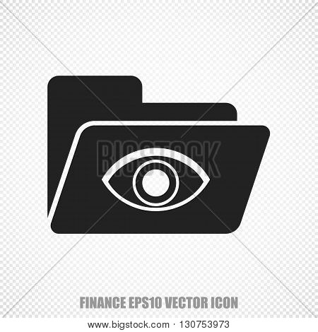 The universal vector icon on the business theme: Black Folder With Eye. Modern flat design. For mobile and web design. EPS 10.