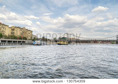 MOSCOW RUSSIA - May 02.2016: View of the Krimsky Bridge and Frunze Embankment by the Moskva River