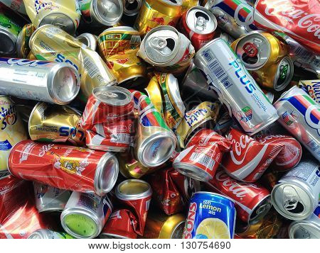 Klang Malaysia - May 212016: Separated used cans of various drinks for recycling.