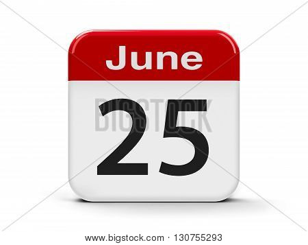 Calendar web button - The Twenty Fifth of June - Day of the Seafarer three-dimensional rendering 3D illustration