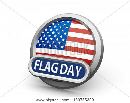 Emblem icon or button with american flag represents American Flag Day isolated on white background three-dimensional rendering 3D illustration