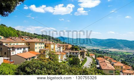 Paoramic view of Cortona medieval town in Tuscany Italy