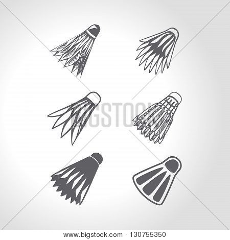 Badminton shuttlecock icons collection. 4 black and white hand drawn silhouettes of badminton shuttlecocks. Vector illustration