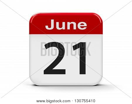 Calendar web button - The Twenty First of June - International Yoga Day and Go Skateboarding Day three-dimensional rendering 3D illustration
