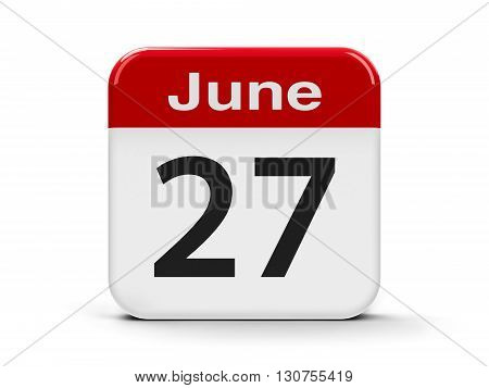 Calendar web button - The Twenty Seventh of June - World Fisheries Day three-dimensional rendering 3D illustration