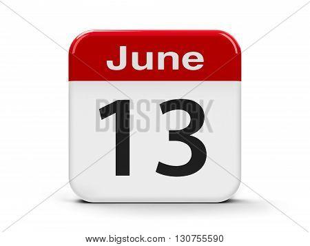 Calendar web button - The Thirteenth of June three-dimensional rendering 3D illustration