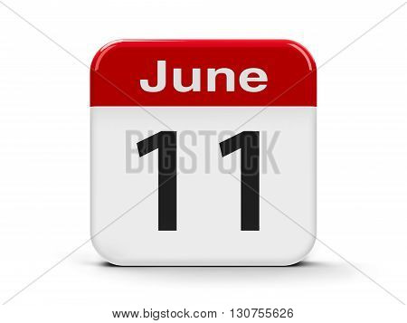 Calendar web button - The Eleventh of June three-dimensional rendering 3D illustration
