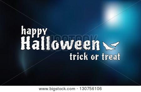 Happy Halloween card, vector illustration, blur background