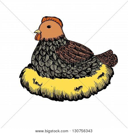Broody hen in nest. Concept of care. Hand drawn vector stock illustration