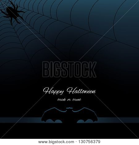 Happy Halloween dark background with silhouette bat, web and silhouette spider