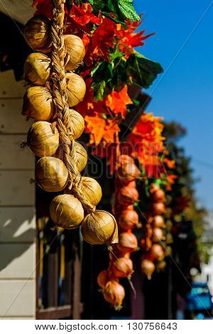 Bunches of orange and yellow onions on wooden background