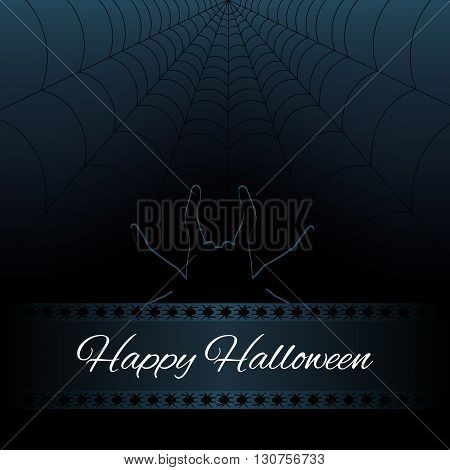 Happy Halloween dark background with web and silhouette spider