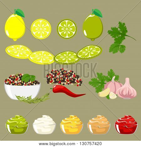 Set of spices and ingredients for sauces. Lemon and lime slices. Peppers of different colors, pods and peas. Green shoots.