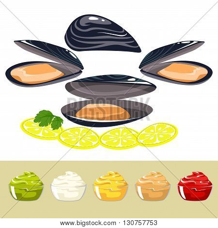 Set seafood. The shells of mussels, lemon chunks and sauces of different colors. parsley leaves on a lemon. Healthy eating.