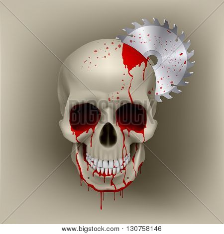 Dead skull with blood in his eyes. Inside the skull from disk grinder