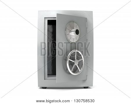 3d illustration of steel bank safe over white background. 3D rendering