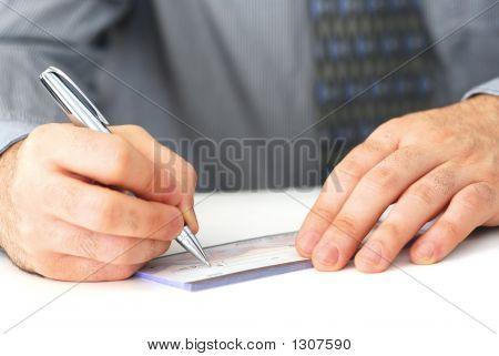 schreiben einen Scheck