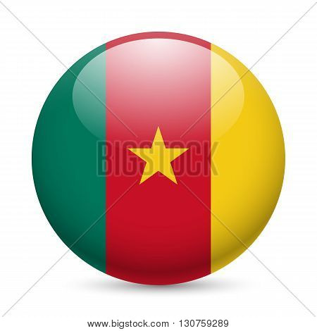 Flag of Cameroon as round glossy icon. Button with Cameroonian flag