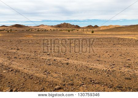mountains against the blue sky in the Sahara desert of Morocco, landscape
