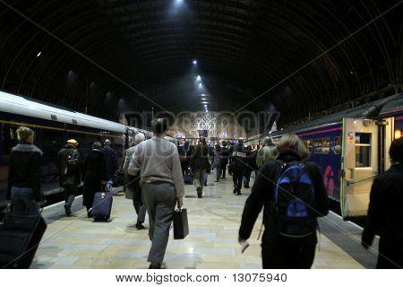 A crowded trainstation.