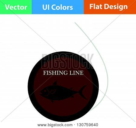 Flat Design Icon Of Fishing Line