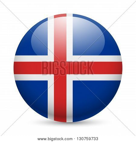 Flag of Iceland as round glossy icon. Button with Icelandic flag