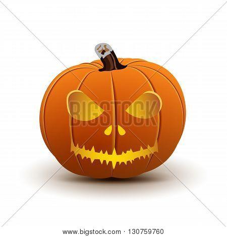 Pumpkin Halloween Isolated on White, Vector illustration