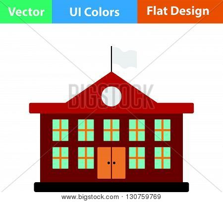 Flat Design Icon Of School Building