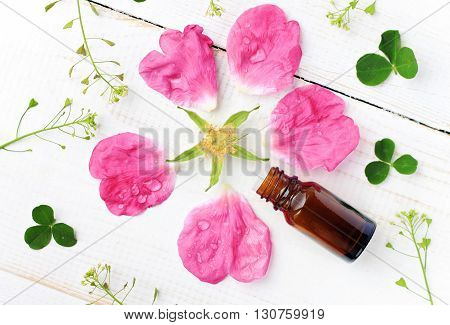 Fragrant essential rose oil. Bottle and flower petals scattered. Top view background composition.