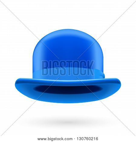 Blue round traditional hat with hatband on white background.