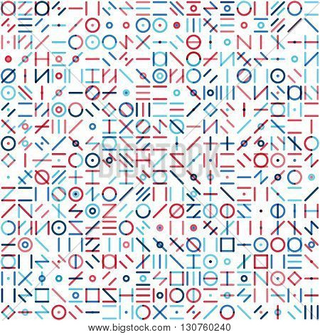 Vector Seamless Blue Red Colorful Random Geometric Line Signs Pattern Abstract Background