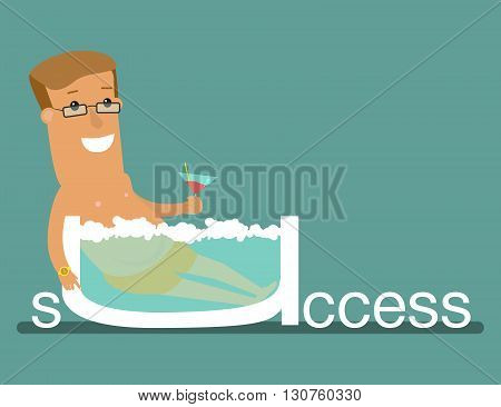 Successful businessman relaxing on the beach island business concept of financial freedom. Business concept cartoon illustration.