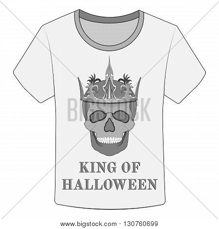 T-shirt King of Halloween and skull, vector illustration