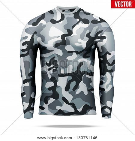 Base layer underwear compression shirt with long sleeve of thermal fabric in city camouflage style. Sample typical technical illustration.  Vector Illustration isolated on white background