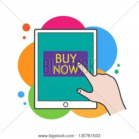 Online Shopping, a hand drawn vector illustration of a tablet device with
