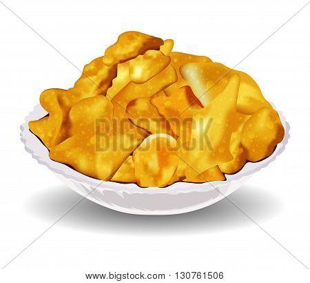 Baursaks - fried dough, national kazakh food, vector illustration