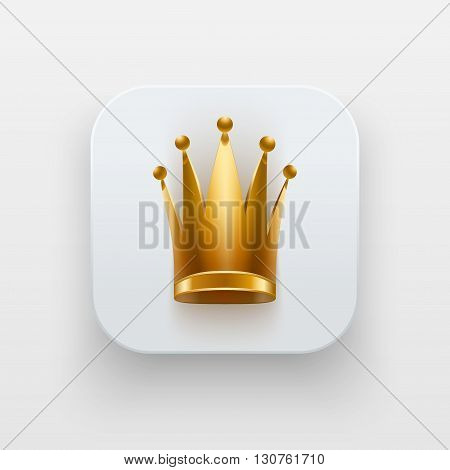 Queen icon. Luxury Symbol of Crown on light backdrop with shadow. Vector Illustration Isolated on background